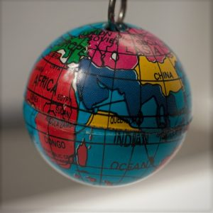 small globe on keychain